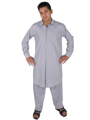 Egypt Bazar Zweiteiliges Herren-Salwar-Kameez- Set im Pakistani-Stil, Farbe: grau (52-54 (L))