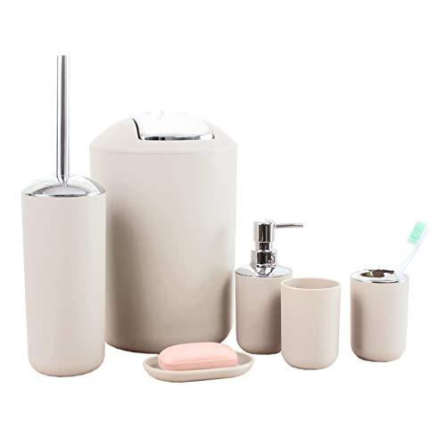 besaset Juego de 6 accesorios de baño de plástico, soporte para cepillo de dientes, taza de enjuague, jabonera, botella desinfectante de manos, cubo de basura, cepillo de inodoro con soporte (Khaki)