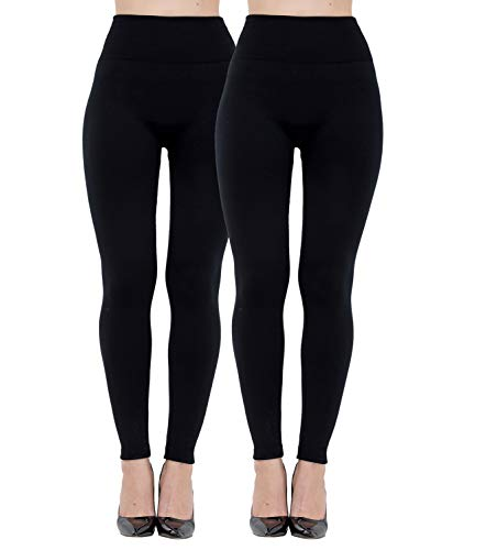 Diravo Fleece Lined Leggings Womens Fashion High Waist Tummy Control Leggings for Women Winter Warm (2 Pack-Black)