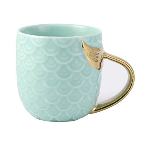 Hemoton Taza de Sirena Tazas de Café de Cerámica Taza de Té de Leche Pintada de Oro Taza de Sopa de Porcelana Taza de Bebida Regalo de Boda de Cumpleaños