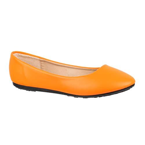 Elara Damen Ballerina Bequeme Slip Ons Flach Chunkyrayan DY 07 Orange 40
