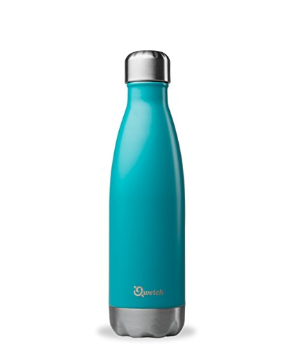 QWETCH - Bouteille Isotherme INOX 500ml - Maintient Vos Boissons au Chaud Pendant 12 Heures & au Frais Pendant 24 Heures – BPA Free - Bleu Turquoise