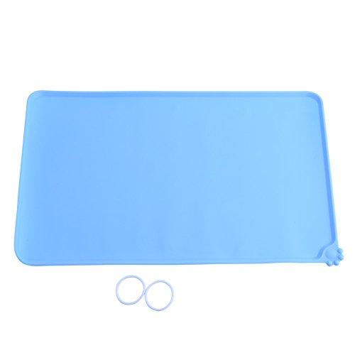 Tovaglietta per Ciotole di Cibo Silicone Tappetino Impermeabile Antiscivolo Quadrato per Cani Gatti, 47,7 x 30cm (Colore : Blue)
