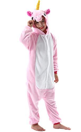 Jumpsuit Onesie Tier Fasching Karneval Halloween Kostüm Kinder Mädchen Junge Sleepsuit Overall Pyjama Unisex Lounge Cosplay Schlafanzug Rosa Einhorn for Höhe 90-148CM