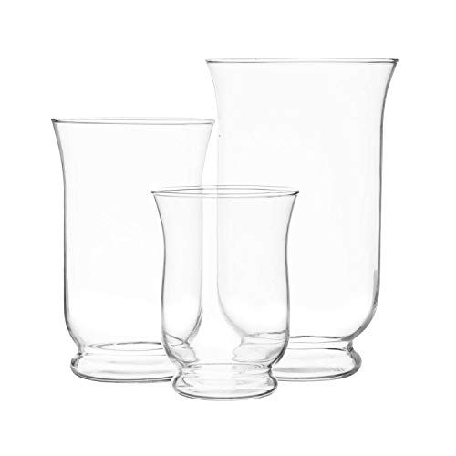 Hurricane Pillar Candle Holder, Clear Glass Flower Vase, Terrarium Succulent Planter, Decorative Centerpiece for Home or Wedding 3 Pc Set, 6', 8' 10'