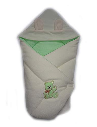 BlueberryShop Thermo Badstof luierdeken met kaapje | Slaapzak voor pasgeborenen van 0 tot 3 maanden | Perfect als cadeau voor baby shower | Groen