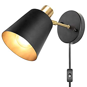 Plug in Wall Sconces Wall Mounted Lamps with Plug in Cord Metal Vintage Industrial Wall Light Fixtures Lighting Reading Lights for Bedside Bedroom Living Room Indoor Doorway  Exclude Bulb