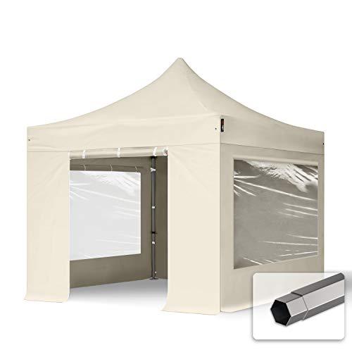 TOOLPORT Faltzelt Faltpavillon Pavillon 3x3m - mit 4 Seitenteilen (Panoramafenster) Premium Dach 100{b0051467b9f283d97298cb4439aa92bbe5aa7c95bf7715097904d0622db794c0} WASSERDICHT Partyzelt Creme