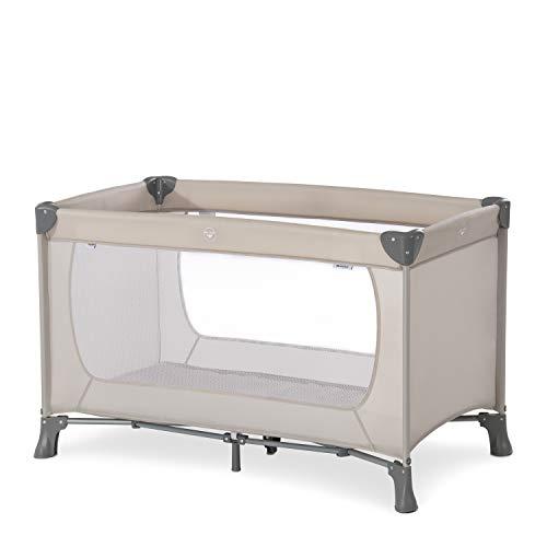 Hauck Dream'n Play Reisebett 3-teilig 120 x 60 cm, ab Geburt bis 15 kg, inkl. Faltboden, Tragetasche (faltbar, tragbar, leicht, kippsicher) - beige