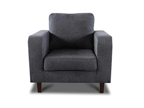 Sessel Kera - Couch, Couchsessel, Loungesessel, Stühl, Holzfüße, Velours Stoff, Couchgarnitur (Dunkelgrau (Cosmic 97))
