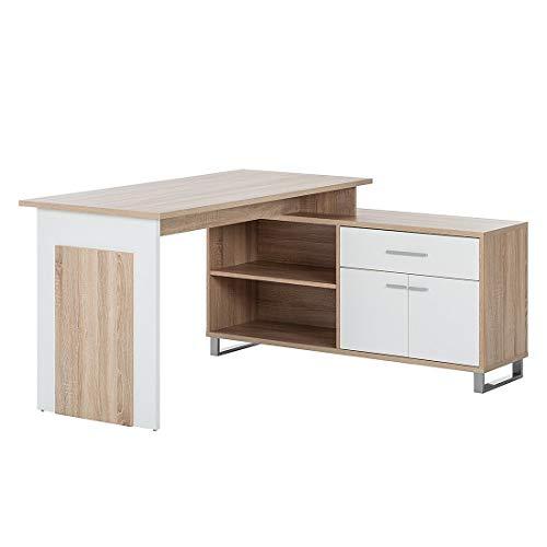Stella Trading Schreibtisch mit Sideboard Weiß, Absetzung Eiche Sonoma Nachbildung, BxHxT 140 x 76 x 65 cm