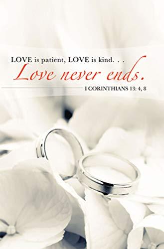 Love Never Ends/Rings Wedding Bulletin (Pkg of 50)