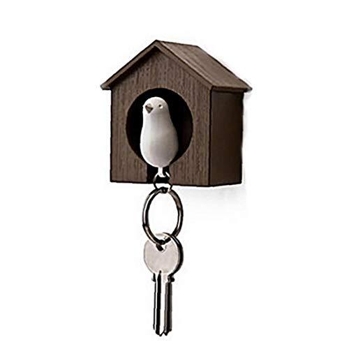 Kreative Birdhouse-Anhänger Schlüsselanhänger Pfeife Spatzen-Schlüsselring Reizender Vogel Schlüsselhalter 1PC