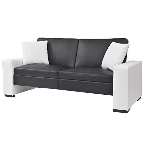 vidaXL Sofa Armlehne Verstellbar PVC Schwarz Schlafsofa Bettsofa Schlafcouch