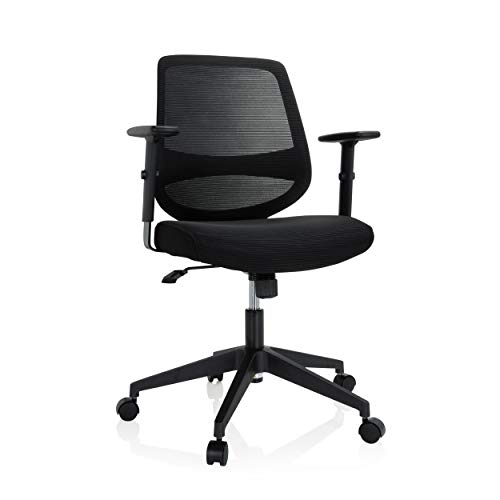 hjh OFFICE 740002 Chester - Silla de oficina giratoria (tela y malla, reposabrazos regulables, función basculante), color negro