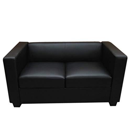 Mendler 2er Sofa Couch Loungesofa Lille - Leder, schwarz