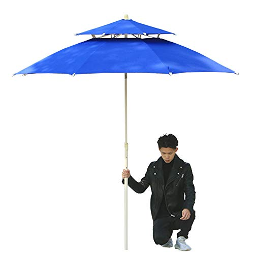 Sombrilla Parasol para Jardin Terraza Azul Sombrillas De Jardín para Patio 2,3 M / 8 Pies, Toldo Pequeño De Doble Techo con Manivela para Balcón, Césped Al Aire Libre Y Playa Patio Sombrillas
