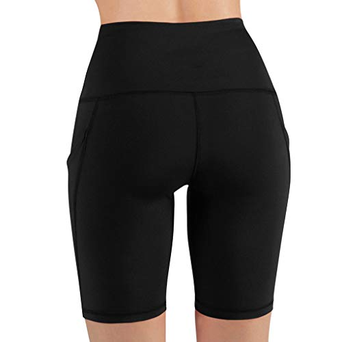 VPASS Mujer Pantalones Cortos Yoga elásticos Color sólido Secado rapido Pantalones Deportes de Fitness Mayas Gym Pantalones Transpirables Pantalones Leggings Deportivos Push up Mallas