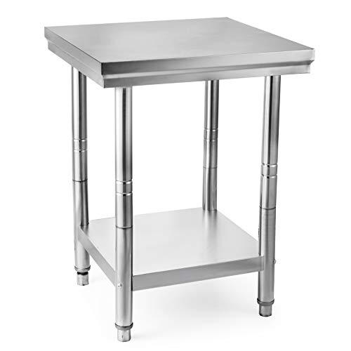 vevo Mesa de Preparación de Comida, 60 x 60 x 80cm,Acero Inoxidable, Capacidad de Carga 750kg, Ajustable
