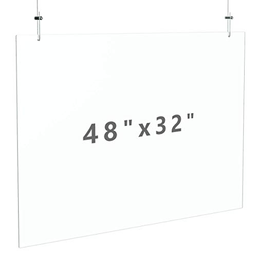 """FEMELI Hanging Sneeze Guard 48""""×32"""" for Counter Ceiling With String,Acrylic Plastic Sneeze Shield for Cashier Clerk Receptionist"""