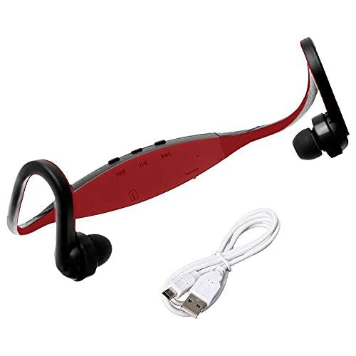 OcioDual Auriculares Reproductor MP3 Deportivos Sin Cables Micro SD USB Radio FM Sport Rojo