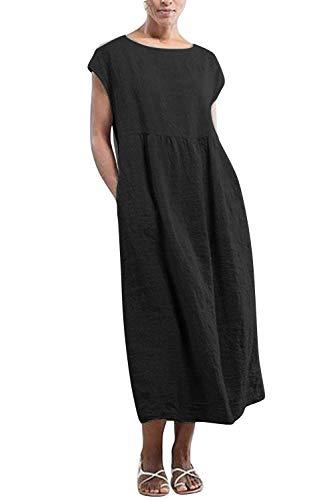 Yidarton Kleider Damen Lang Sommer Elegant Strandkleid Kurzarm Rundhalsausschnitt Casual Lose Maxi Kleider mit Taschen (Schwarz, M)