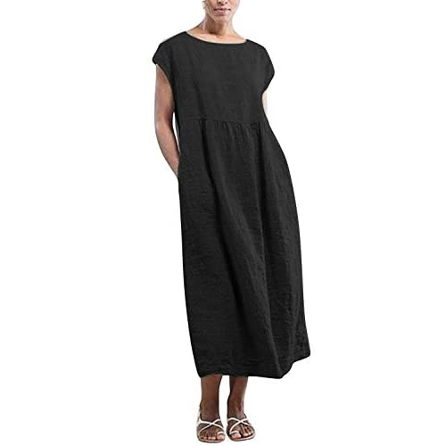 Yidarton Womens Maxi Dresses Summer Casual Beach Solid Color Loose Crew Neck Short Sleeve Long Dress with Pockets