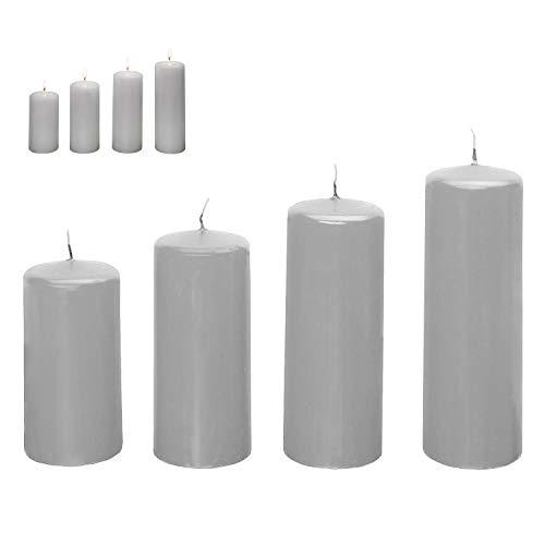 Smart-Planet® - Juego de 4 velas navideñas (4 unidades), color gris claro