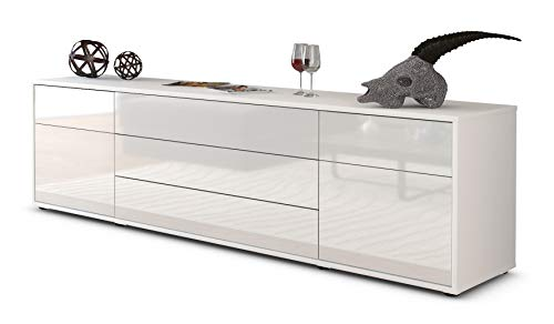 Stil.Zeit TV Schrank Lowboard Benita, Korpus in Weiss matt/Front im Hochglanz-Design Weiß (180x49x35cm), mit Push-to-Open Technik und hochwertigen Leichtlaufschienen, Made in Germany