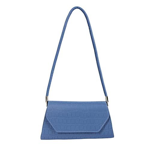 ZSDFW Bolso casual para mujer, de color sólido, de cuero, para viajes, axila, bolsa de hombro, para compras al aire libre, suministros de viaje, color azul