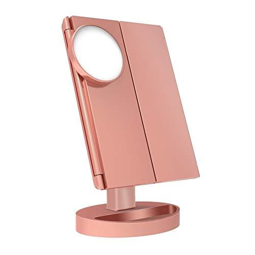 KK Zachary Espejo de maquillaje rosa, 22 luces LED, pantalla táctil, espejo de lujo 1X/2X/3X/10X, mesa ajustable de 180 grados