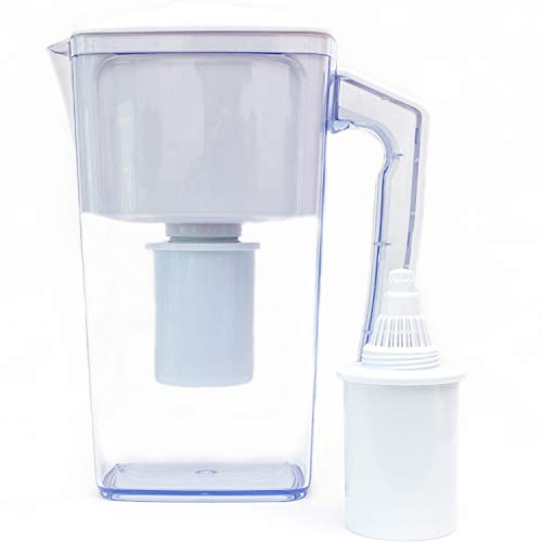 Plant Based Pros Alkaline Water Filter Pitcher - 2.5L Healthy Pure Water Ionizer, Two 60-Day Activated Carbon Filters, BPA Free, Healthy, Clean, Toxin - Updated 2020