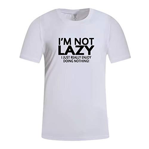 Mode Herren Brief Druck Shirt Kurzarm Lässige T-Shirt Bluse Tops Zolimx