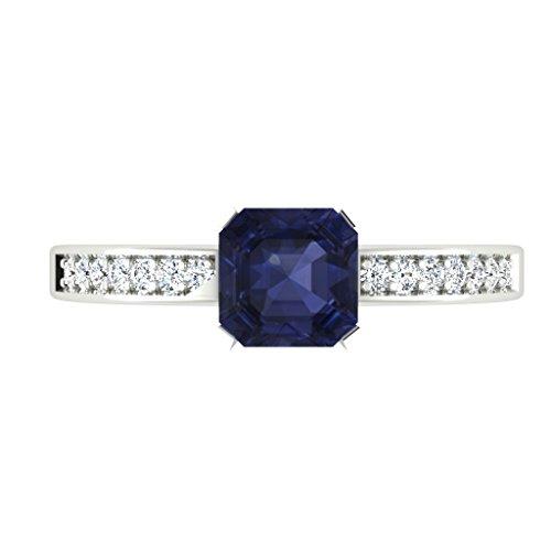 0.66ct mit Diamant-Ring mit Diamanten, Blau Saphir-Ring, Edelstein, 14Karat Weißgold alle Größen (S)