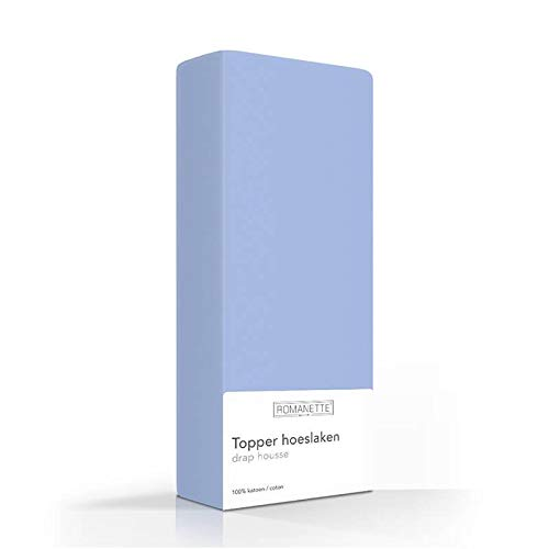 Luxe Verkoelend Topper Hoeslaken - Blauw - 180x220 cm - Percal Katoen - Romanette - Voor Matrassen Tot CM