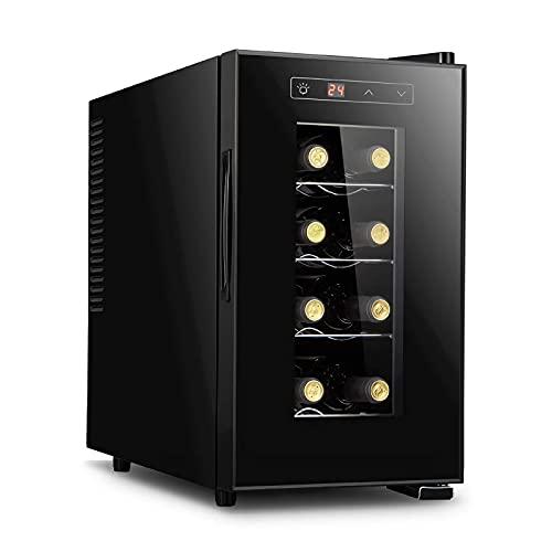 JLKDF Enfriador de Vino electrónico, refrigerador Independiente para Vino Tinto y Blanco, 8 Botellas, pequeño Bar en casa, Bodega, Control Digital, Puerta de Vidrio, Mini refrigerador de