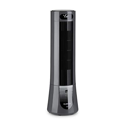 KLARSTEIN Skyscraper Frost - Rafraîchisseur dair, Ventilateur, purificateur, humidificateur dair, 300 m³/h, 45 W, réservoir: 7L, 2 Blocs de Glace, Oscillation à 90°, roulettes - Gris
