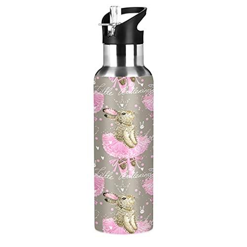 ADKing - Botella de agua con diseño de conejo de ballet, 20 onzas, para deportes, a prueba de fugas, botella de agua sin BPA, acero inoxidable