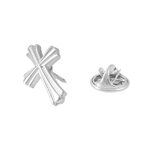 HSF Silber Glossy Pin-Kreuz-Brosche Schmuck Brosche