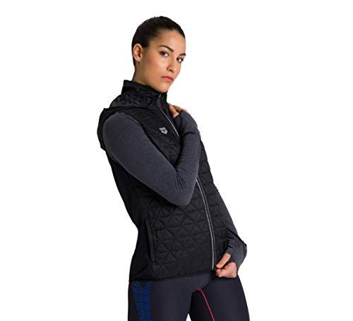 ARENA Chaleco de running para mujer con forro, Mujer, Chaleco para correr., 003628, Negro , extra-large