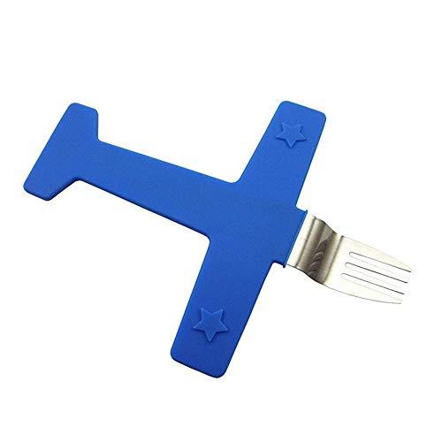 ERJQ Cuchara de Tenedor para niños, Juego de Tenedor de alimentación con Forma de avión de Acero Inoxidable, Cuchara, Juego de vajilla, Juego de vajilla para niños creativos,Azul