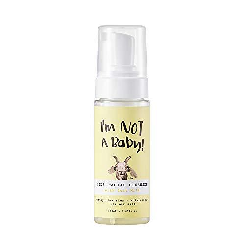 I'M NOT A BABY l Goat Milk Premium Kids Facial Cleanser l for Children's Sensitive Skin l Soft Bubble Foam Deep Cleanser for child l hypoallergenic l Natural Originated Ingredients l Natural surfactant l for 4-12yo l 5.07Fl Oz