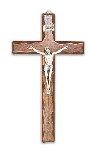 Holzkreuz - Wandkreuz - Christus aus Silber - Hergestellt in Umbria Italy - (32 x 18)