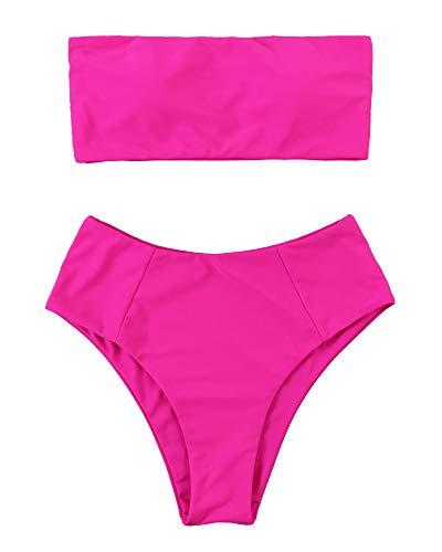 OMKAGI Women Strapless Swimsuits High Waisted Two Piece Solid Bandeau Bikini Set(Medium,Hot Pink)