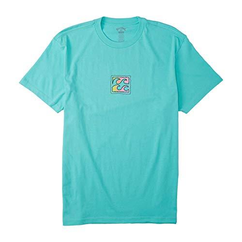 Billabong Men's Short Sleeve Premium Logo Graphic Tee T-Shirt, Light Aqua Crayon Wave, LG