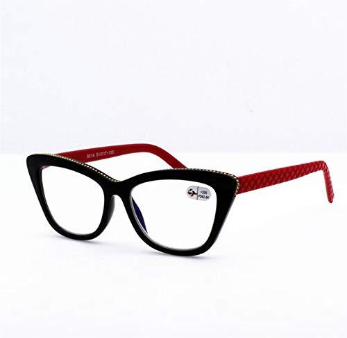 Vendimia Gafas de Lectura Ojo de Gato Gafas de Marco Negro Patas Rojas magníficas Gafas de Moda (Color : Red, Size : 2.0X)