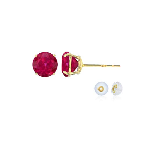 14K Solid Yellow Gold 4mm Round Created Ruby July Birthstone Prong Set Stud Earrings For Women and Girls