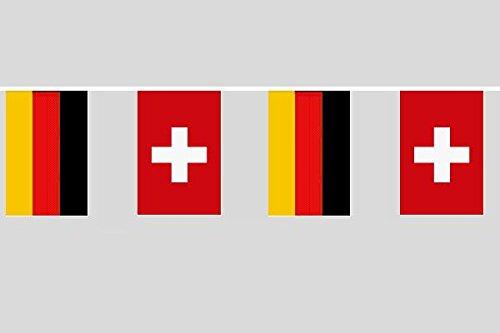 U24 Flaggenkette Deutschland - Schweiz 6,20 m Fahne Flagge Fahnenkette Fre&schaft