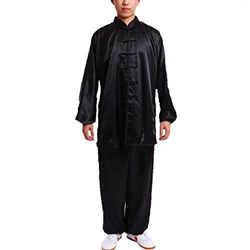Mujeres Artes Marciales Ropa,Hombres Vintage Chino Wing Chun Kung Fu Dos Piezas Uniforme,Adecuado para Ejercicios Matutinos Judo Taekwondo(Color:Negro,Size:M)