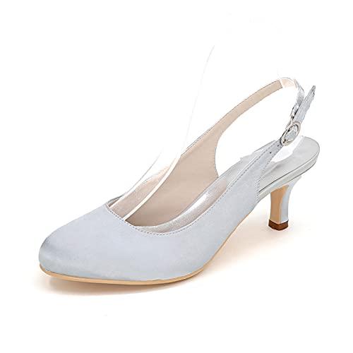 Zapatos De Novia Destalonados En Satén Zapatos De Noche De Fiesta De...
